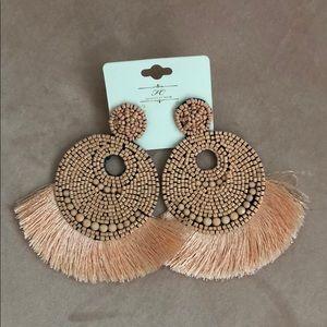 Pink bead and tassel earrings